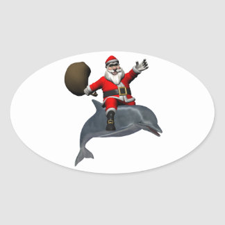 Santa Claus Riding On Dolphin Oval Sticker