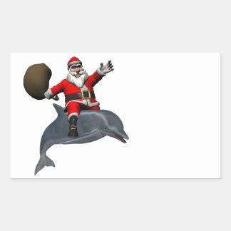 Santa Claus Riding On Dolphin Rectangular Sticker