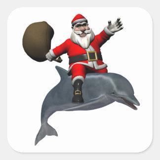 Santa Claus Riding On Dolphin Square Sticker