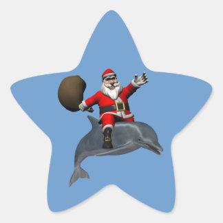 Santa Claus Riding On Dolphin Star Sticker