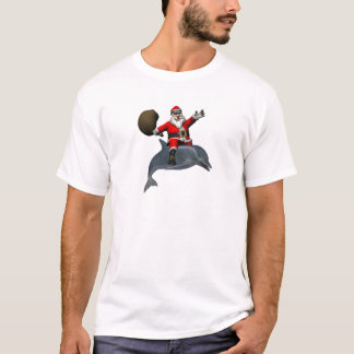 Santa Claus Riding On Dolphin T-Shirt