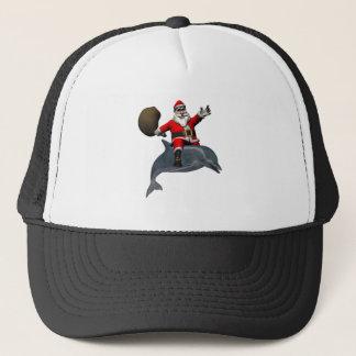 Santa Claus Riding On Dolphin Trucker Hat