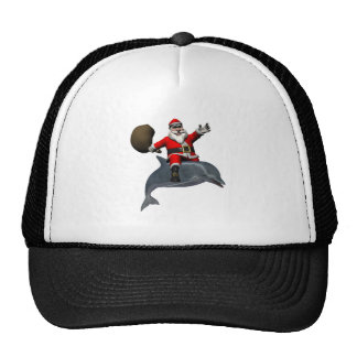 Santa Claus Riding On Dolphin Trucker Hat