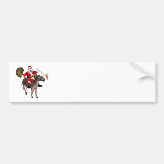 Santa Claus Riding On Donkey Bumper Sticker