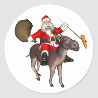 Santa Claus Riding On Donkey Classic Round Sticker