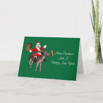 Santa Claus Riding On Donkey Holiday Card