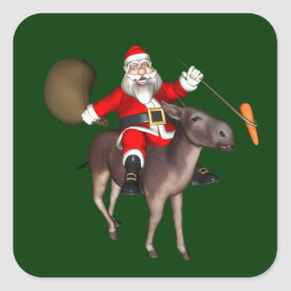 Santa Claus Riding On Donkey Square Sticker
