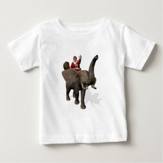 Santa Claus Riding On Elephant Baby T-Shirt
