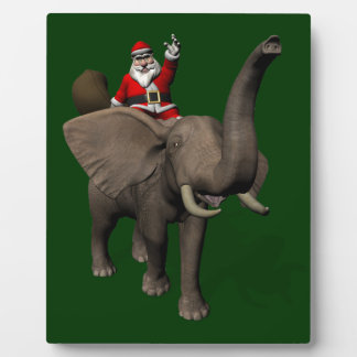 Santa Claus Riding On Elephant Plaque
