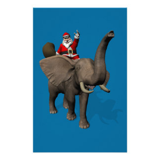 Santa Claus Riding On Elephant Stationery