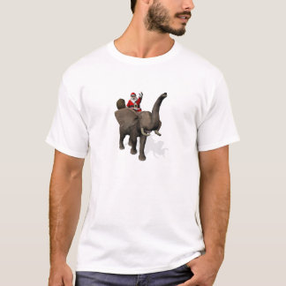 Santa Claus Riding On Elephant T-Shirt