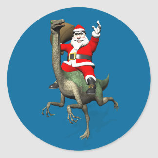 Santa Claus Riding On Gallimimus Classic Round Sticker