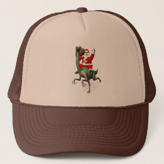 Santa Claus Riding On Gallimimus Trucker Hat