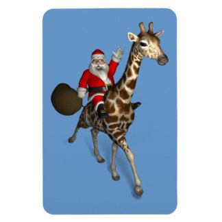 Santa Claus Riding On Giraffe Magnet