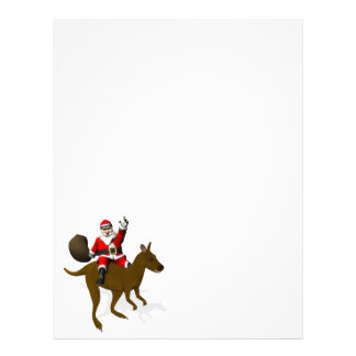 Santa Claus Riding On Kangaroo Letterhead