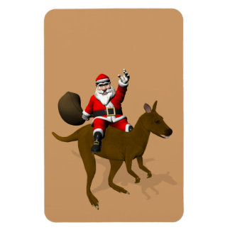 Santa Claus Riding On Kangaroo Magnet