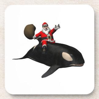 Santa Claus Riding On Killer Whale Beverage Coaster
