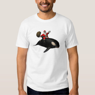 Santa Claus Riding On Killer Whale T Shirt