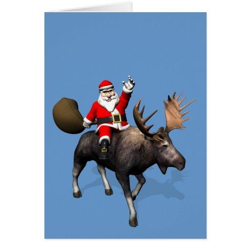 Santa Claus Riding On Moose Greeting Card