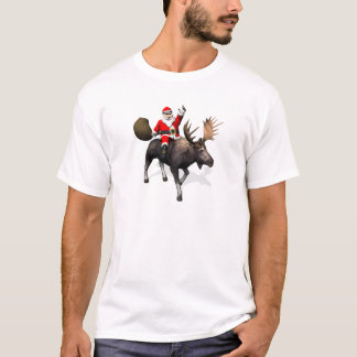Santa Claus Riding On Moose T-Shirt