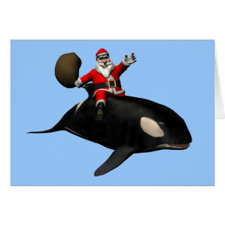 Santa Claus Riding On Orca Card