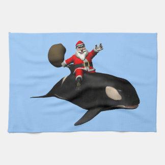 Santa Claus Riding On Orca Hand Towel