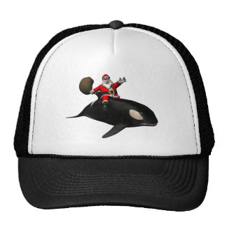 Santa Claus Riding On Orca Trucker Hat