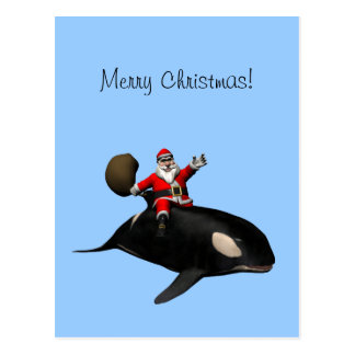 Santa Claus Riding On Orca Postcard