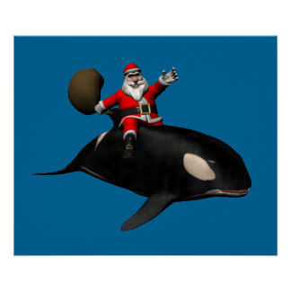Santa Claus Riding On Orca Poster