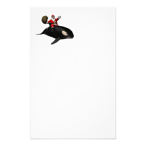 Santa Claus Riding On Orca Stationery