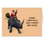 Santa Claus Riding On Rhinoceros Greeting Cards