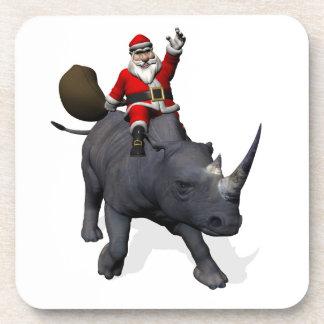 Santa Claus Riding On Rhinoceros Rhino Beverage Coaster