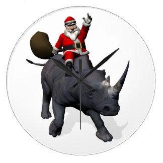 Santa Claus Riding On Rhinoceros Rhino Large Clock
