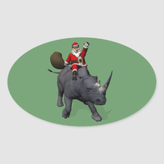 Santa Claus Riding On Rhinoceros Rhino Oval Sticker