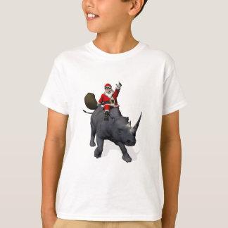 Santa Claus Riding On Rhinoceros Rhino T-Shirt