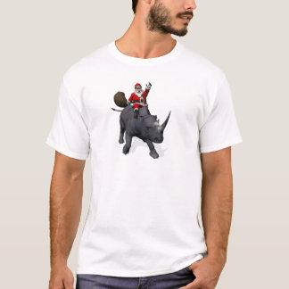 Santa Claus Riding On Rhinoceros T-Shirt