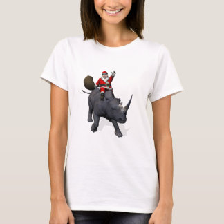 Santa Claus Riding On Rhinoceros T-Shirt