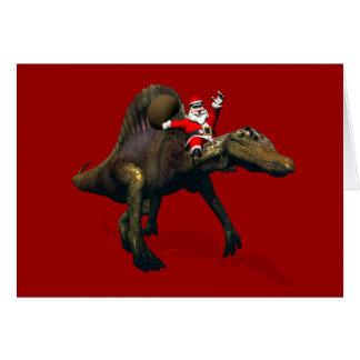 Santa Claus Riding On Spinosaurus Card