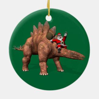 Santa Claus Riding On Stegosaurus Ceramic Ornament