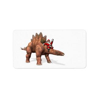Santa Claus Riding On Stegosaurus Label