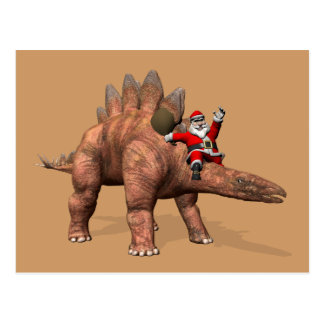 Santa Claus Riding On Stegosaurus Postcard