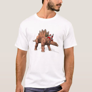 Santa Claus Riding On Stegosaurus T-Shirt