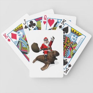 Santa Claus Riding On Walrus Bicycle Playing Cards