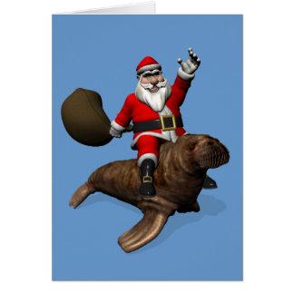 Santa Claus Riding On Walrus Card