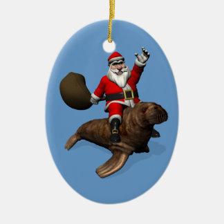 Santa Claus Riding On Walrus Ceramic Ornament