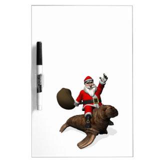 Santa Claus Riding On Walrus Dry-Erase Board