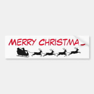Santa Claus Riding Reindeer Christmas Holiday Bumper Sticker