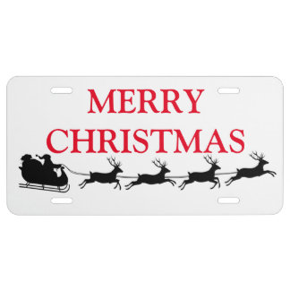 Santa Claus Riding Reindeer Christmas Holiday License Plate