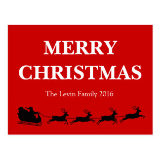 Santa Claus Riding Reindeer Christmas Theme Postcard