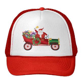 Santa Claus Ringing Bell in Vintage Car Hat